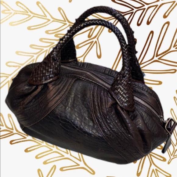 Pristine Fendi Dark Brown Nappa Leather Spy Bag